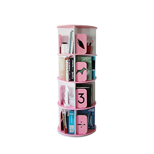 JCNFA Rundes Grafisches Rotierendes Bücherregal Stehendes Bücherregal 360-Grad-Bücherregal Student Multilayer-Rahmen, 3 Größen (Color : Round Pattern 4 Layer Powder) - Regal Zeitgenössische Bücherregal