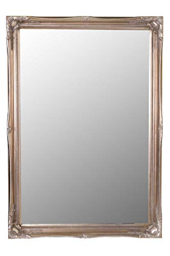 MirrorOutlet Espejo de Pared Grande Decorativo, diseño Envejecido, Color Plateado, 86 cm x 61 cm