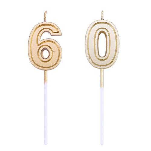 Amosfun 2 stücke Nummer 60 Kerze Gold Glitter Geburtstag Nummer Kerzen Kuchen Topper Dekoration (2 Kuchen Nummer Topper Kerze)