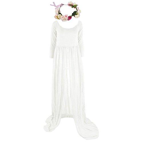Gazechimp Schwangere Frauen Mutterschaft Kleid dress Foto Prop Requisiten mit Blume Stirnband - Weiß + rot, one (Kostüme Mutterschaft)