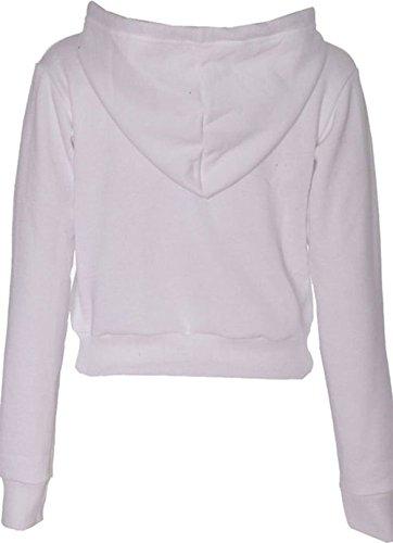 FRIENDZ TRENDZ Crop Top Manches Longues Just Do It Later Print Fleece Hoodie - Femmes white