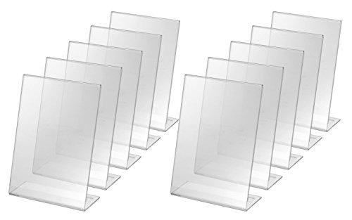 SIGEL TA212-10 Porta-avvisi da tavolo / Porta-brochure da banco, con base a L, acrilico, per A5, 10 pz.