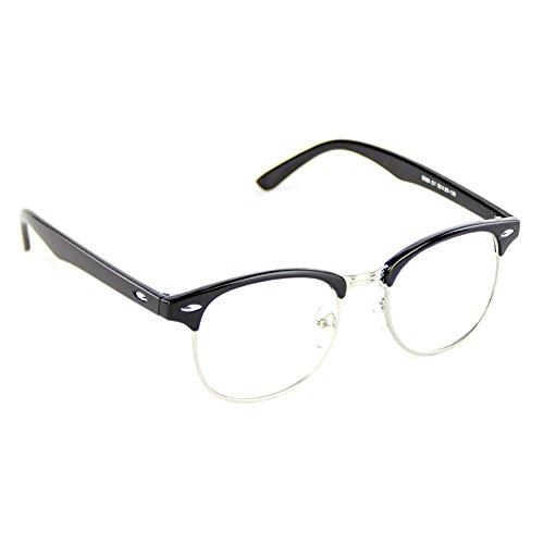 Cyxus gewöhnliche gläser halbrahmenbrillen [klare Linsen] modebrillen Schöne Brille altmodisches klassisches Rahmen SchwarzesBrillenrahmen