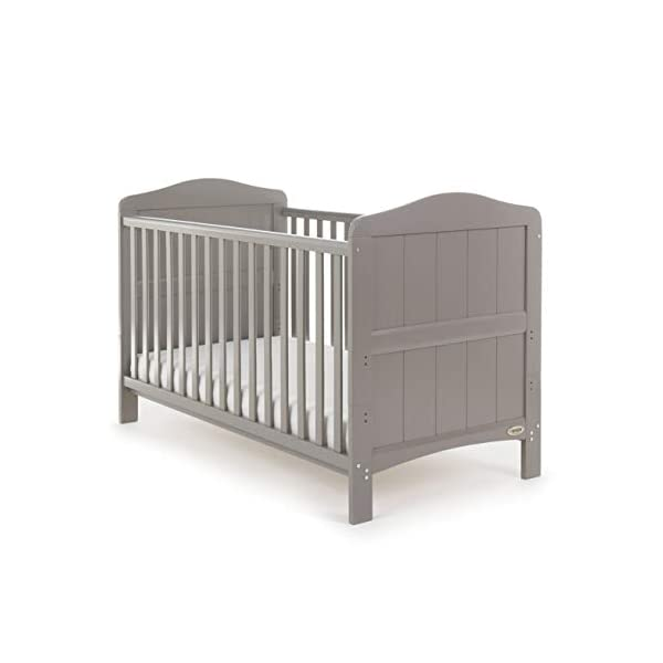 Obaby Whitby Cot Bed, Taupe Grey Obaby Adjustable 3 position mattress height Bed ends split to transforms into toddler bed Protective teething rails along both side rails 1