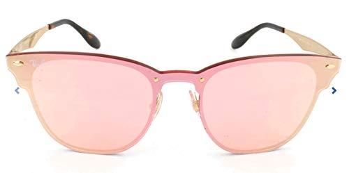 RAYBAN JUNIOR Unisex-Erwachsene Sonnenbrille Blaze Clubmaster Brushed Gold/Pinkmirrorpink, 41