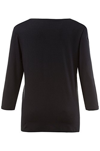 GINA LAURA Damen | Jersey-Shirt | Pailletten Oberteil mit Rundhals & 3/4-Arm | Stretch-Komfort | bis Größe XXX-L | 708507 Schwarz