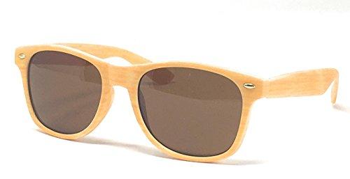 Textur Kollektion Fifties Style Sonnenbrille: Holz Effekt, Gelb