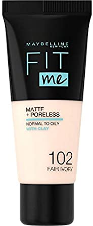 Maybelline New York Fondotinta Fit Me Matte&Poreless, Finish Opacizzante e Fissante, Tonalità: 102 Fair I