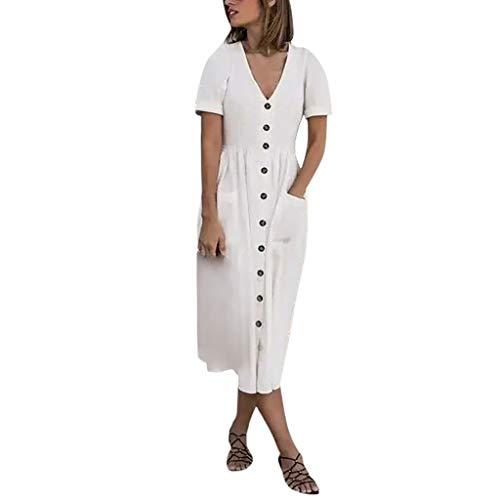 Malloom Damen Freizeitkleid mit V Ausschnitt und kurzen Ärmeln aus Baumwolle und Leinen -