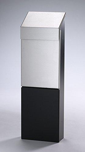 Bobi Holiday Standbriefkasten aus Edelstahl, Korpus und Ständer schwarz (RAL 9005)