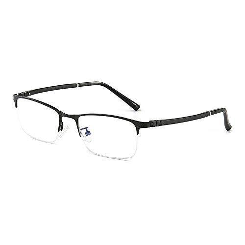 WULE-RYP Polarisierte Sonnenbrille mit UV-Schutz Business Simple Half-Frame-Brille Metall Anti-Blau-Brille für Männer. Superleichtes Rahmen-Fischen, das Golf fährt (Farbe : Schwarz)