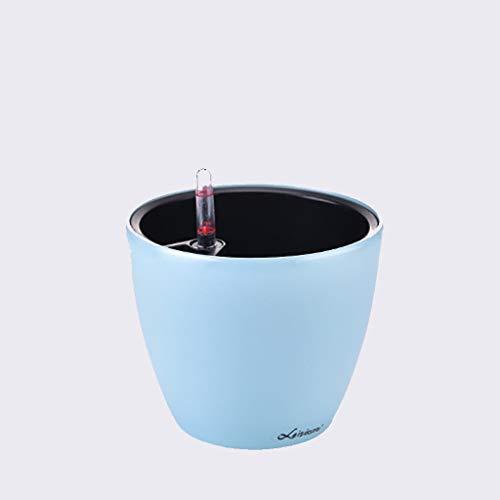 Büro-Blumentöpfe, Quadrat The Mall Blumentopf Runder Blumentopf Automatische Wasseraufnahme Merkmale Großes Kaliber Kleiner Blumentopf ( Farbe : Ice blue , größe : 20*20*17cm ) Ice Blue Vase