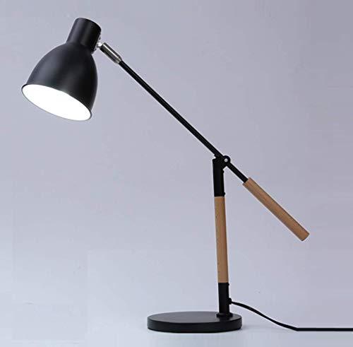 ZHLIANG Einzigartige Led Floor Lamp Man Wooden Desk Lampe mit Retro Lamp Shade Side Table Light for Kids Boys Bedroom Living Room/Studie (schwarz),Black