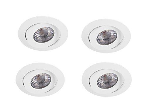 Lot de 4 Spot LED encastrable ronde Ø 8,8 cm, blanc, intensité variable sur Interrupteur mural, Smartwares