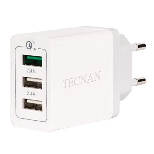 tecnan 30W 3-Ports USB Ladegerät 3A Netzteil Fast Charge QC 3.0 USB Stecker Schnell Laden Ladeadapter Adapter kompatibel mit iPhone, iPad, Samsung Galaxy, Huawei, LG, Nexus, Motorola [Weiß]