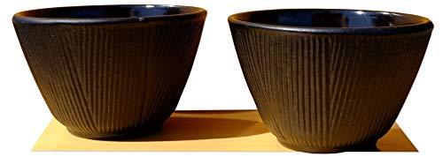 GOTO Forêt de Bambous - Lot de 2 tasses de thé noires en fer forgé