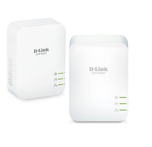 D Link DHP 601AV Starter Kit di 2 Adattatori Powerline Porta Gigabit AV2 1000 Velocità fino 1000 Mbps per Streaming HD e Gioco Online Bianco