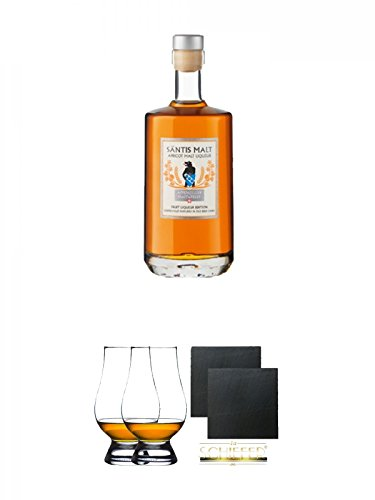Säntis Apricot Malt Likör (35%) 0,5 Liter + The Glencairn Glass Whisky Glas Stölzle 2 Stück + Schiefer Glasuntersetzer eckig ca. 9,5 cm Ø 2 Stück -