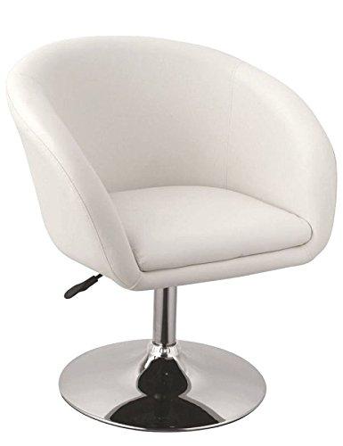 Clubsessel in Weiß Esszimmerstuhl höhenverstellbar Kunstleder Drehsessel Coctailsessel Lounge Sessel Duhome 0092