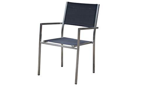 OUTFLEXX Stapelsessel in Silber und schwarz Edelstahl & Textilene, 56x56x88 cm, moderner Stuhl Garten stapelbar, Balkon-Sessel