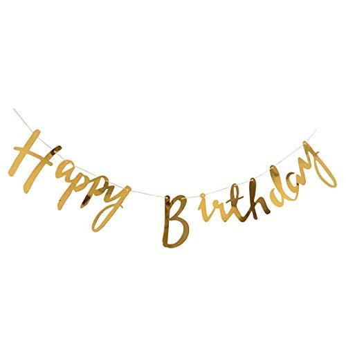 (Cavore Happy Birthday Banner in Gold metallic - Schriftzug-Girlande zum Aufhängen - Moderne Geburtstagsdekoration für Erwachsene und Kinder - Mädchen und Jungen)