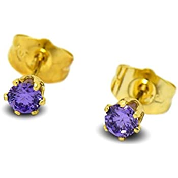 836849c4c Blue Diamond Club - Tiny 9ct Yellow Gold Filled Womens Stud Earrings Girls  Round Small 4mm Amethyst Crystals 6 Claws