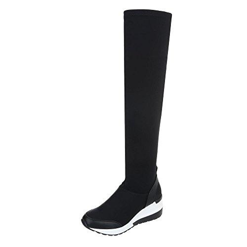 Ital-Design Overknees Damen-Schuhe Klassischer Stiefel Keilabsatz/Wedge Keilabsatz Reißverschluss Stiefel Schwarz, Gr 39, S150-