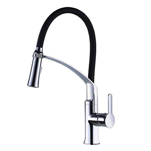 CREA Küchenarmatur Ausziehbar Spültischarmatur Küchenspüle Schwarz Einhebel Mischbatterie Wasserhahn Brause Chrom)