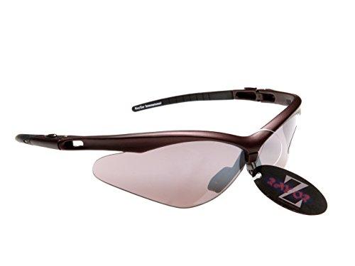 Rayzor professionnel léger UV400 Blanc SPORTS Wrap Ski Lunettes de soleil, avec une fumée miroir anti-éblouissement objectif