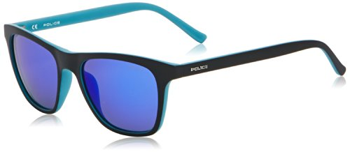 Police Herren S1936 HOT 1 Wayfarer Sonnenbrille, Black (Semi Matt Black/Semi Matt Full Light Blue)