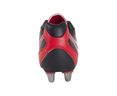 GILBERT Sidestep XV LO Scarpa da Rugby 6 Tacchetti Uomo Nero/Rosso