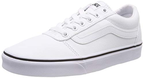 Canvas Lace Up Schuhe (Vans Damen Ward Canvas Sneaker, Weiß White 7hn, 40 EU)