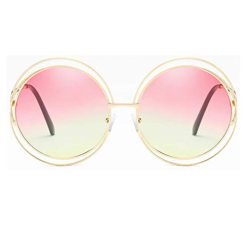 BlueAurora Frauen runde Sonnenbrille, stilvolle UV400 Metallrahmen Sonnenbrille für Damen Alltag und Freizeit,Pink2