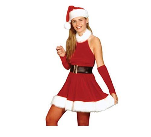 Santa Kostüm Deluxe - Frau Frau Santa Um Hals Kurzes Kleid Deluxe Weihnachts Kostüm Mit Langen Ärmeln,L