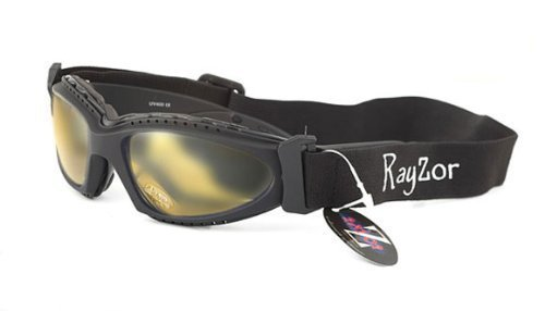 Rayzor Professionelle UV400 Black 2 In 1 Radfahren - MTB-Sonnenbrille / Schutzbrille, mit einem klaren Gelb Blend Clarity-Objektiv und ein abnehmbare, elastische Stirnband & Innenschaumstoffpolsterung