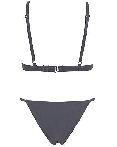 X-HERR Donna Mare Halter Triangolo Micro Oberteil Brasiliana Tanga Bikini Costume da Bagno Grigio