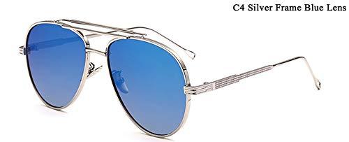 WDDYYBF Sonnenbrillen, Piloten Sonnenbrille Männer Reflektierende Gespiegelt Aviation Sonnenbrille Männlich DREI Strahlen Schattierungen Brillen Uv400, Blaue Linse