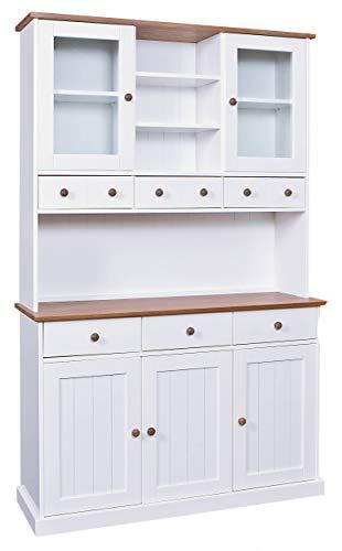 H24living Küchenbüffet Buffetschrank Vitrine Geschirrschrank Vitrinenschrank 5 Türen 6 Schubladen Massivholz lackiert Küchen Möbel Landhausstil
