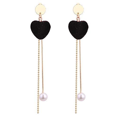 nouler Mode Blog Temperament Ohrringe Korea SAMT Liebe Perle Quaste Ohrringe Lange Weiblich,schwarz,Einheitsgröße