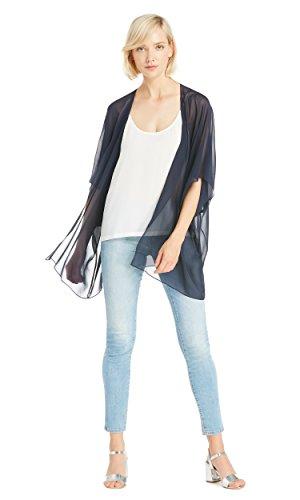 LILYSILK Seide Bikini Cover Up Sommer Schlicht Strandponcho Strandkleid Sommerkleid Kimono 10 Momme Navy Blau