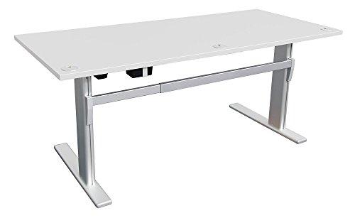 Schreibtisch mit Höhenverstellung in Lichtgrau Ergonomisch Elektrisch B 180 cm x T 80 cm Bürotisch Arbeitstisch Büroschreibtisch