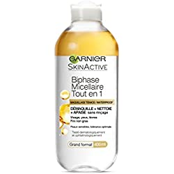 GARNIER Skin Active Biphase Micellaire Tout en 1 - Maquillage Tenace / Waterproof 400ml - Lot de 4