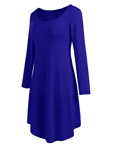Bbonlinedress Damen locker und komfortabel Langarm Casual lose T-Shirt Kleid Royal Blue