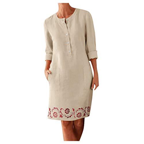 Inawayls Herbst Baumwolle Leinen Kleid 2020 Mode Taste O-Ansatz Midi Party Kleid Frauen Lange Hülse Tasche Solide Kleid Plus Größe