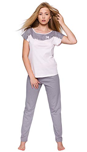 Sensis Pigiama/Tuta Trendy Composto da Maglietta Maniche Corte e Pantaloni Lunghi 100% Cotone Made EU Pois con Ruches)