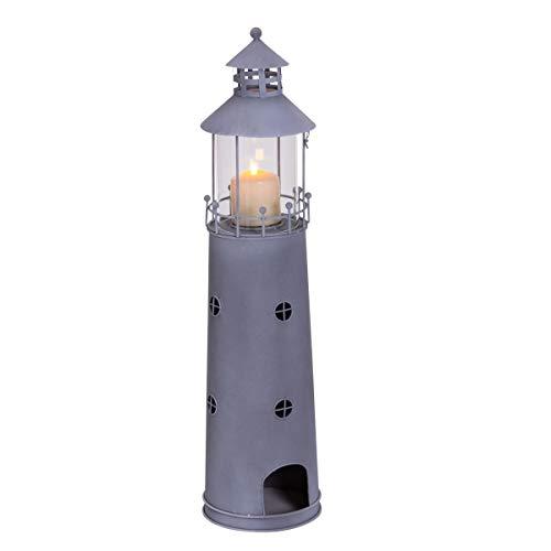 Pureday Windlicht Leuchtturm - Maritimer Kerzenhalter - Metall Glas - Graublau - Höhe ca. 80 cm -