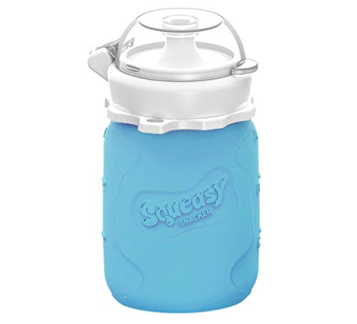 MINI Squeasy Snacker, 100ml (Blau) - Wiederverwendbarer Quetschie - Quetschflasche Quetschbeutel aus weichem Silikon für selbstgemachte Smoothies, Baby-Brei, Obst-Mus, Joghurt. Auslaufsicher, BPA-frei