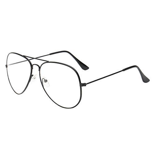 Dorical Unisex Brille, Männer Frauen Retro Gläser, klassische Brille Metallgestell Brillenfassung Aviator Vintage Brille Dekobrillen Promo(Schwarz)