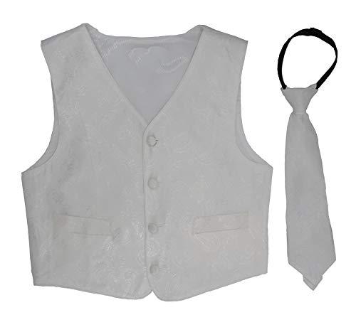 Good Shirt TM Kinder/Jungen Festliche Weste mit Krawatte in Rot oder Schwarz (2 Jahre / 98 cm, Weiß) -