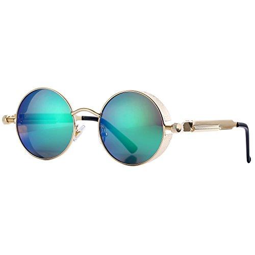 mpunk Sonnenbrille für Männer Frauen Metallrahmen Runde Linse (Green Mirrored Lens) (Gothic Mann)